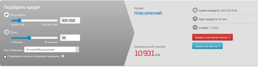 Кредитный калькулятор в банке Санкт-Петербург
