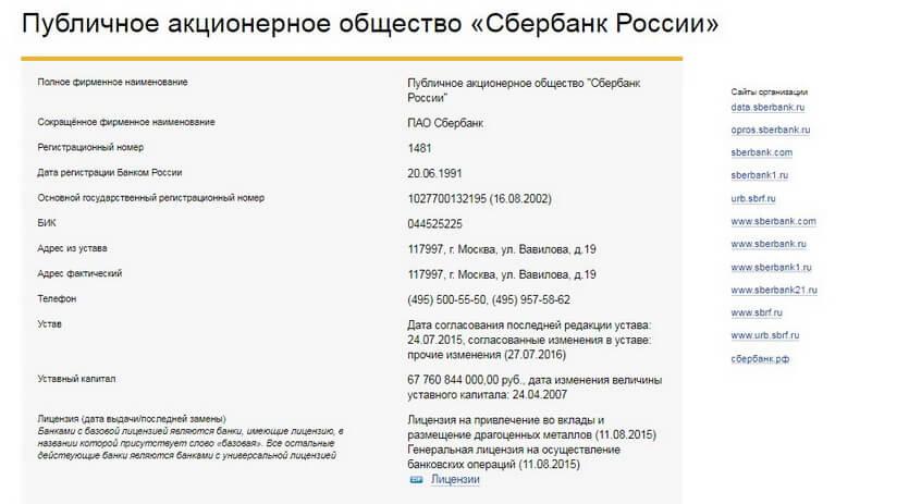 Информация о ПАО Сбербанке