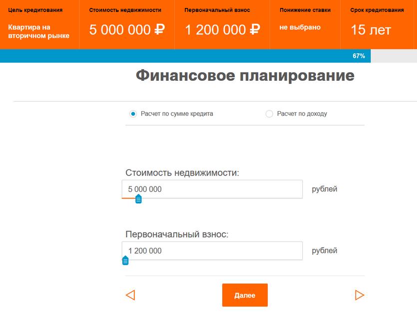 Ипотечный калькулятор Абсолют банка