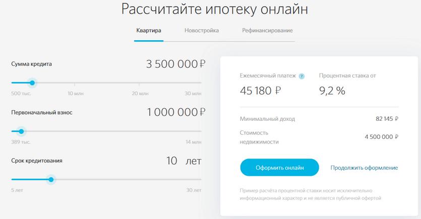 Ипотечный калькулятор в банке Открытие