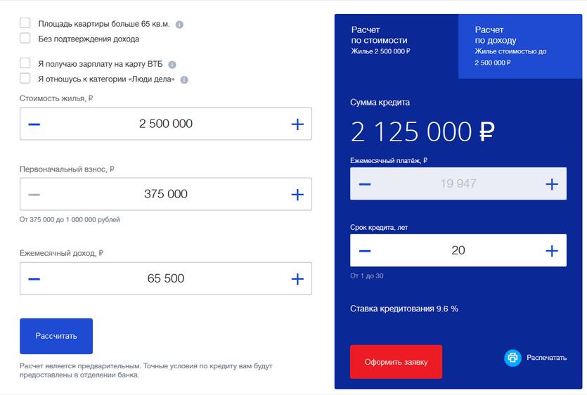 Ипотечный калькулятор на вторичку в ВТБ