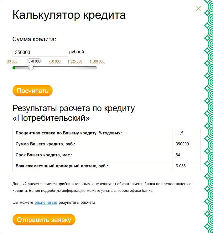 Калькулятор на потребительский кредит в банке Кольцо Урала