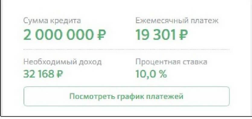 Пример расчета платежа на сайте