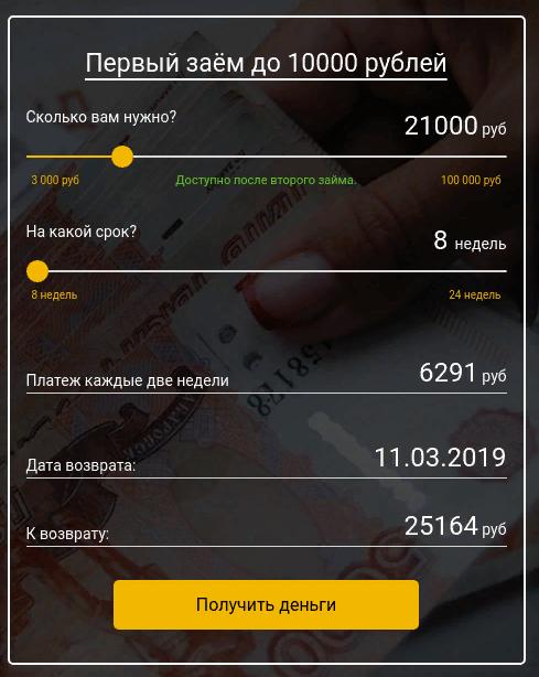 Калькулятор займов Кредитный заем