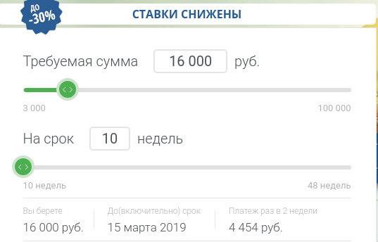 Калькулятор займов МигКредит
