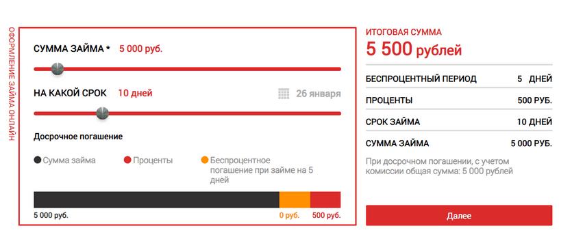 Калькулятор займов Онлайн-Займ