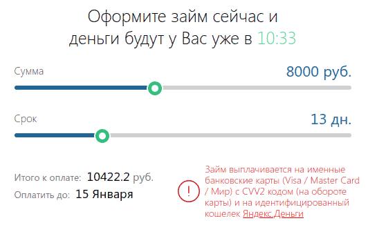 Калькулятор займов Турбозайм