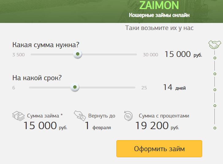 Калькулятор займов Займон