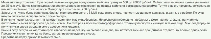 Отзыв2 клиента о займе на сумму пятьсот рублей