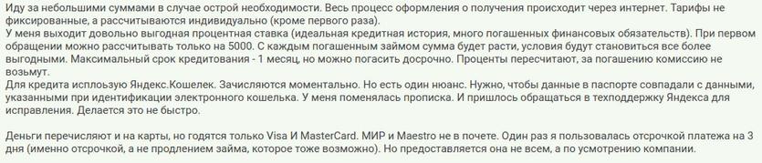 Отзыв2 клиента о займе на электронный кошелек